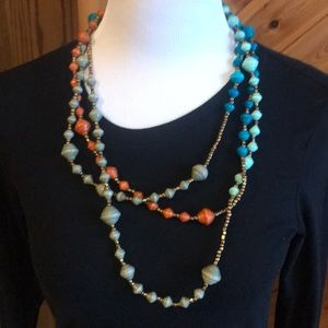 Noonday Brass Coral Grey Green turquoise necklace